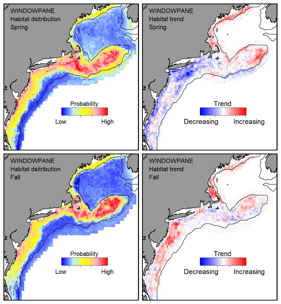 Probable habitat distribution for windowpane flounder showing the highest concentration and increasing trend in the Gulf of Maine during the spring. Bottom row: Probable habitat distribution for windowpane flounder showing the highest concentration and increasing trend in the Gulf of Maine during the fall.