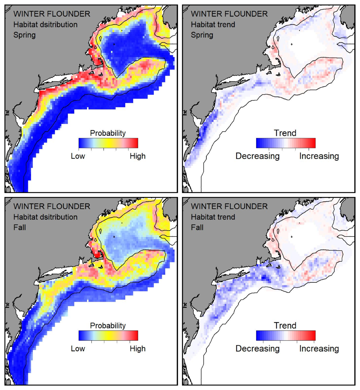 Probable habitat distribution for winter flounder showing the highest concentration and increasing trend in the Gulf of Maine during the spring. Bottom row: Probable habitat distribution for winter flounder showing the highest concentration and increasing trend in the Gulf of Maine during the fall.