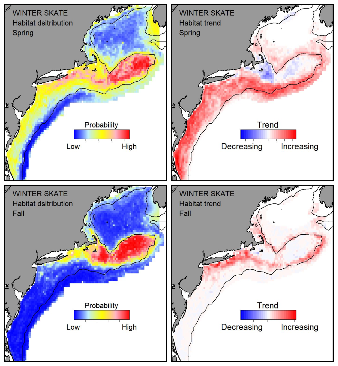 Top row: Probable habitat distribution for winter skate showing the highest concentration and increasing trend in the Gulf of Maine during the spring. Bottom row: Probable habitat distribution for winter skate showing the highest concentration and increasing trend in the Gulf of Maine during the fall.