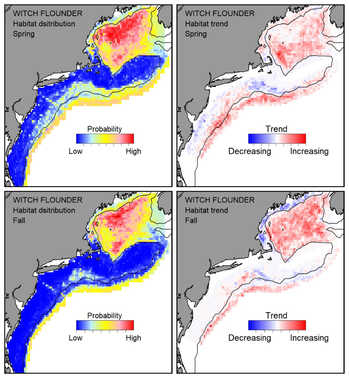 Probable habitat distribution for witch flounder showing the highest concentration and increasing trend in the Gulf of Maine during the spring. Bottom row: Probable habitat distribution for witch flounder showing the highest concentration and increasing trend in the Gulf of Maine during the fall.