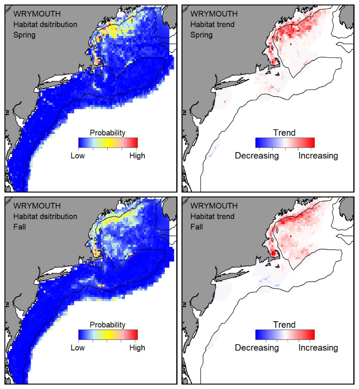 Probable habitat distribution for wrymouth showing the highest concentration and increasing trend in the Gulf of Maine during the spring. Bottom row: Probable habitat distribution for wrymouth showing the highest concentration and increasing trend in the Gulf of Maine during the fall.