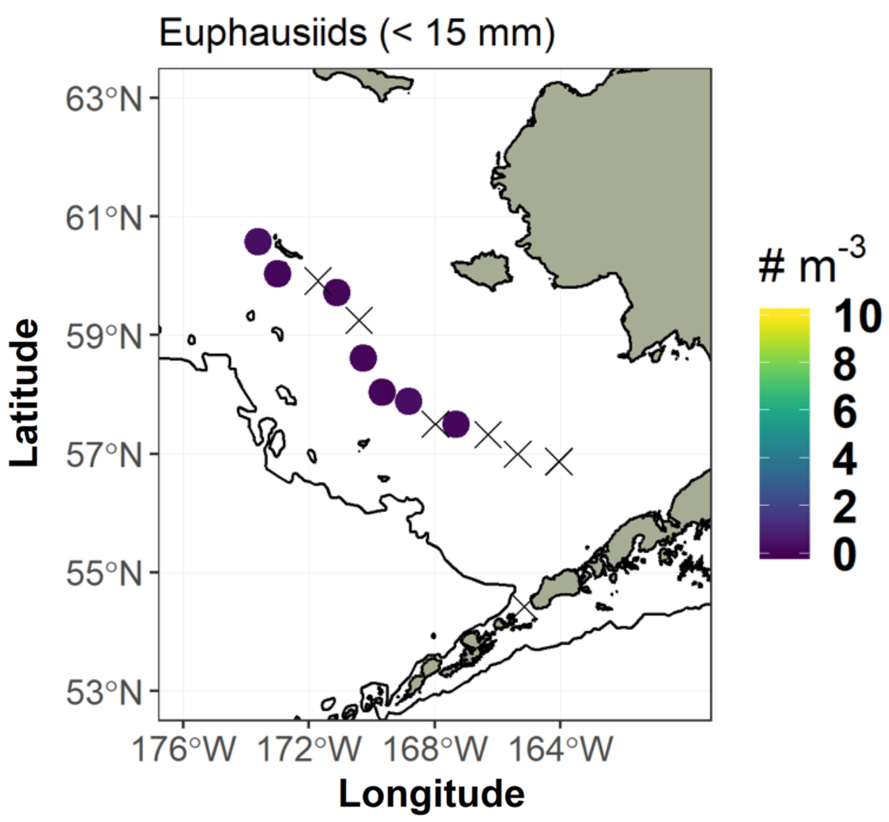 Bering Sea map plotting Euphausiids (< 15 mm).