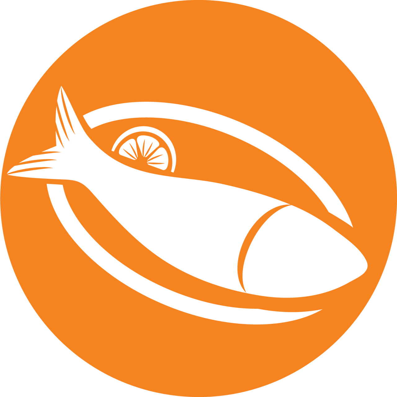 Small icon of fish on plate (with lemon) for sustainable seafood.