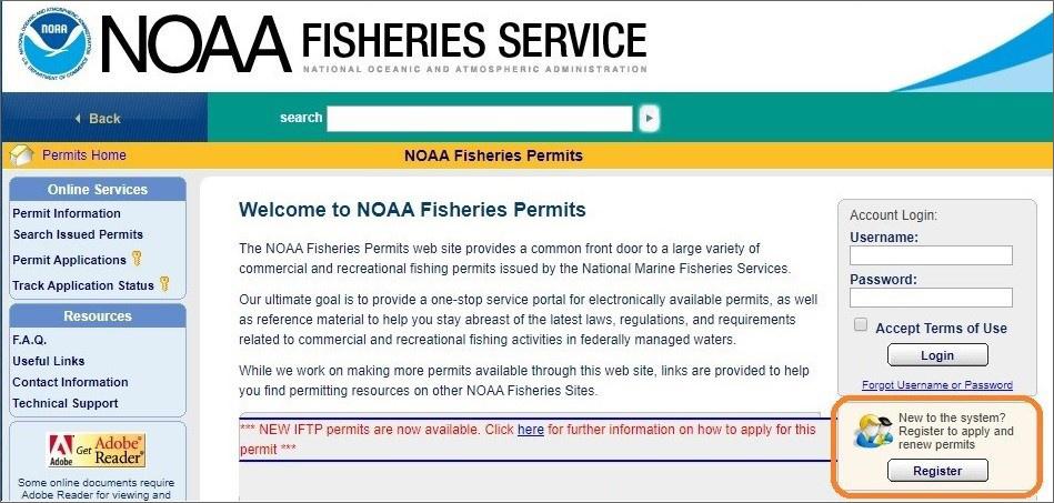 NOAA Fisheries Permit welcome screen.