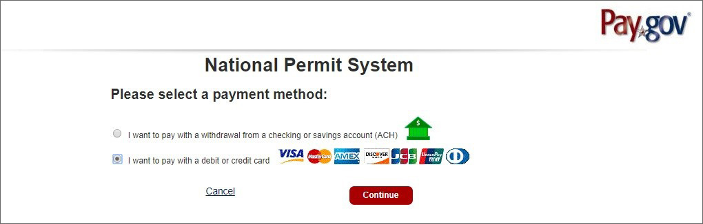 National Permit System - select payment method.