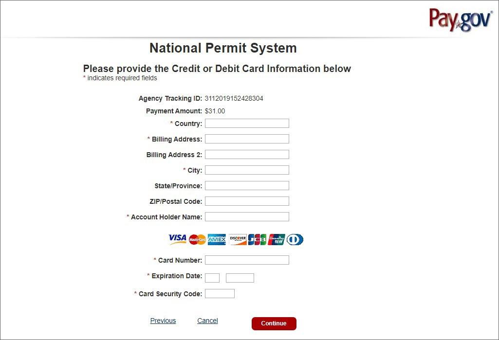 National Permit System - enter credit or debit card information