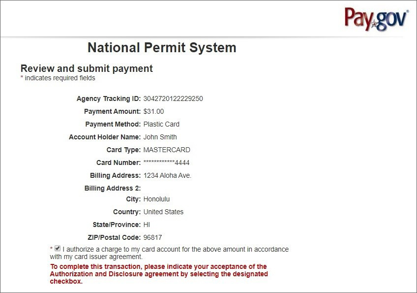 National Permit System - review and submit payment