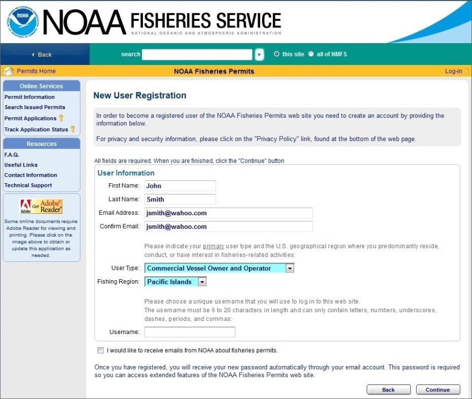 NOAA Fisheries Permits new user registration.