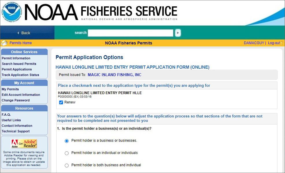 NOAA Fisheries renew screen