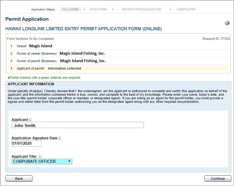 Permit application - Hawaii longline limited entry permit application form online