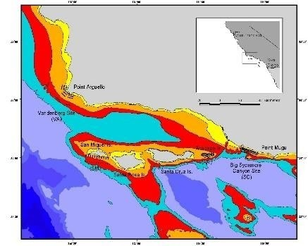 Map of MEERP research locations off southern California.