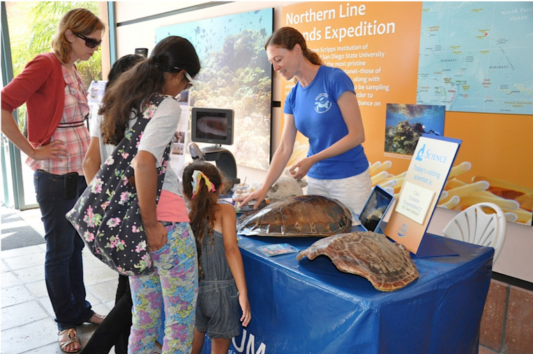 Marine Turtle Ecology & Assessment Program staff at an outreach event at the Birch Aquarium. Photo: NOAA Fisheries