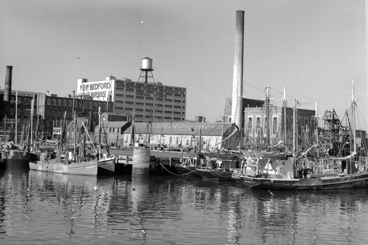 fishing vessels at New Bedford wharf in 1943