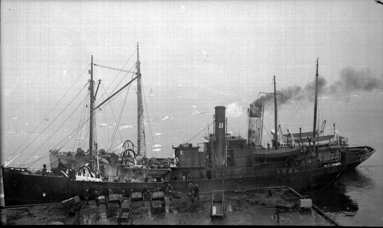 Commercial trawlers docked at Boston fish pier.