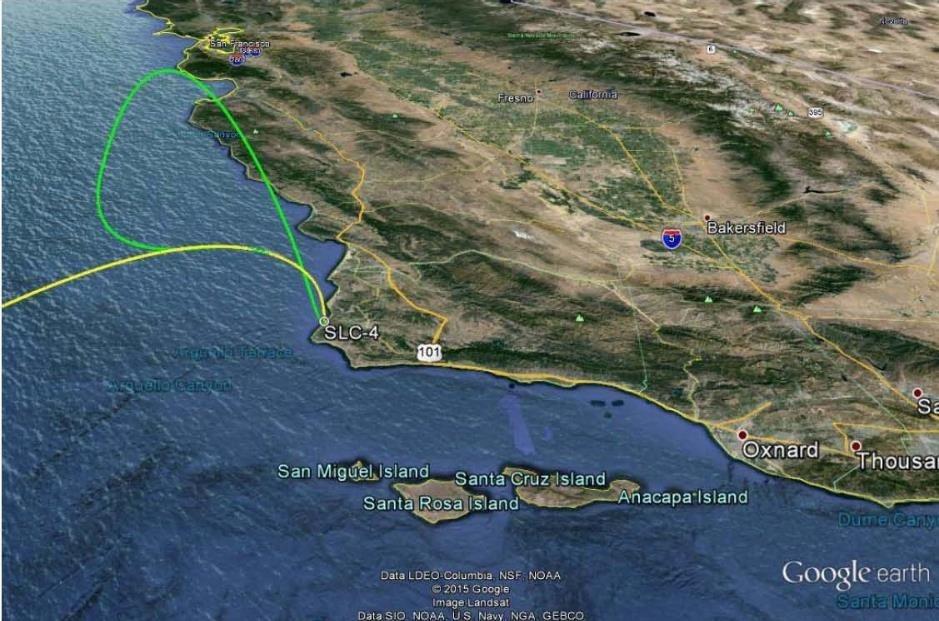 Map showing trajectories across CA
