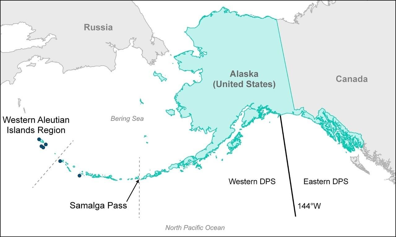 Steller sea lion DPS map