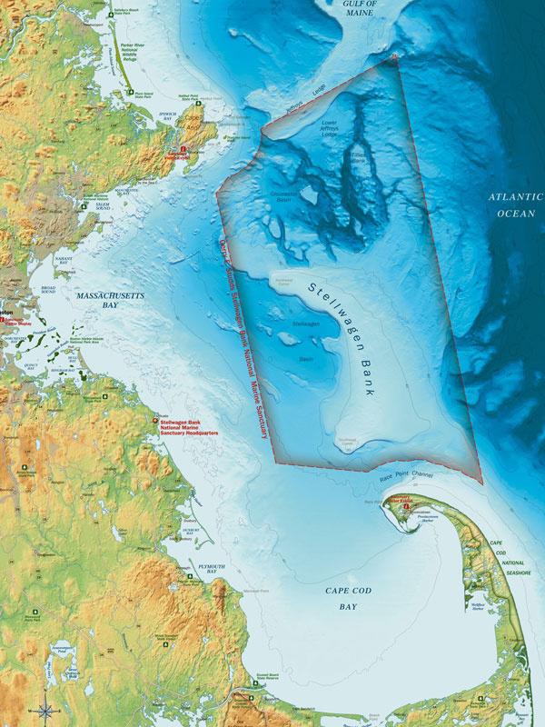 map of stellwagen bank marine sanctuary