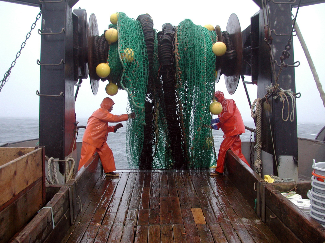 Two scientists pulling up net from net reel.jpg