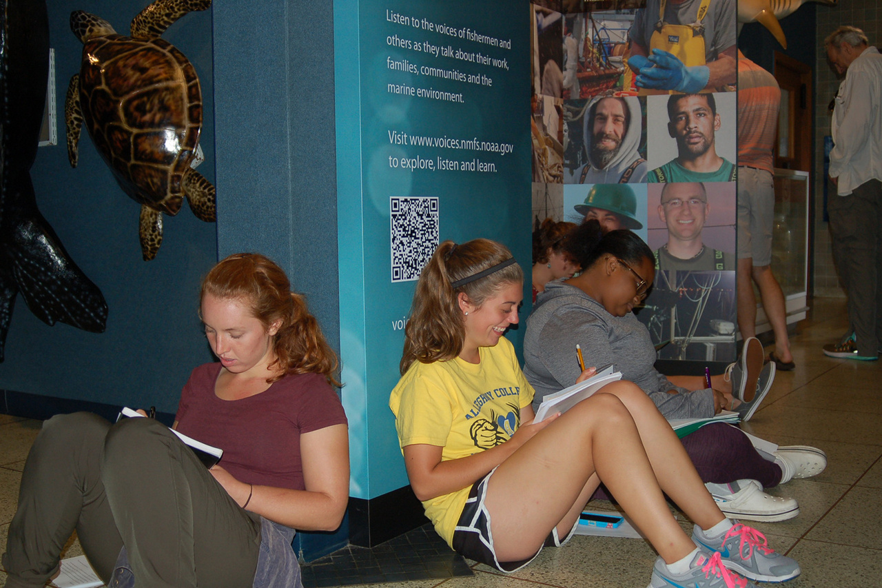 students sitting on aquarium gallery floor filling out papers