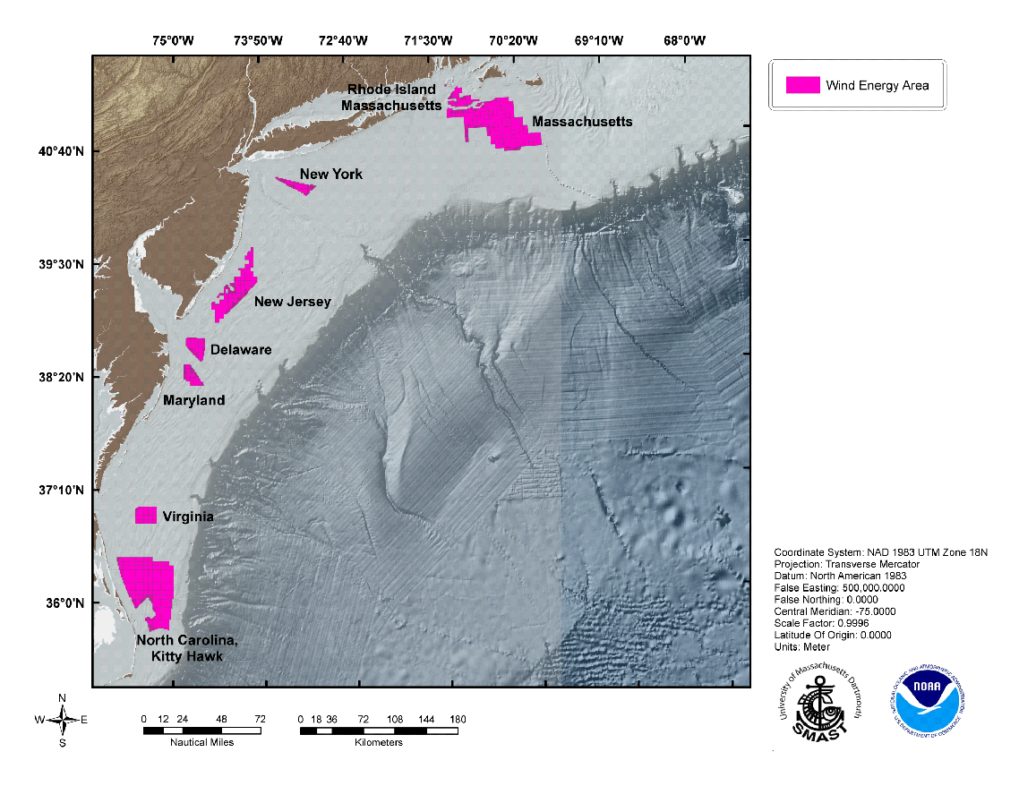 topographic map showing wind energy areas off the New England/Mid Atlantic coast