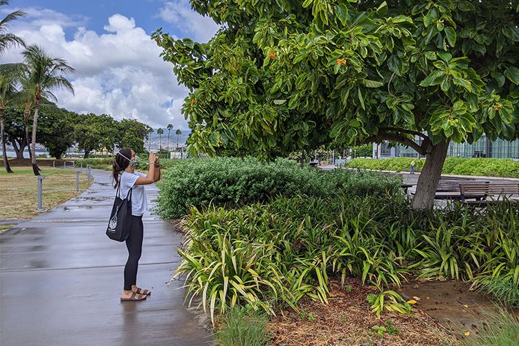 Student intern taking picture of NOAA campus outside for project.