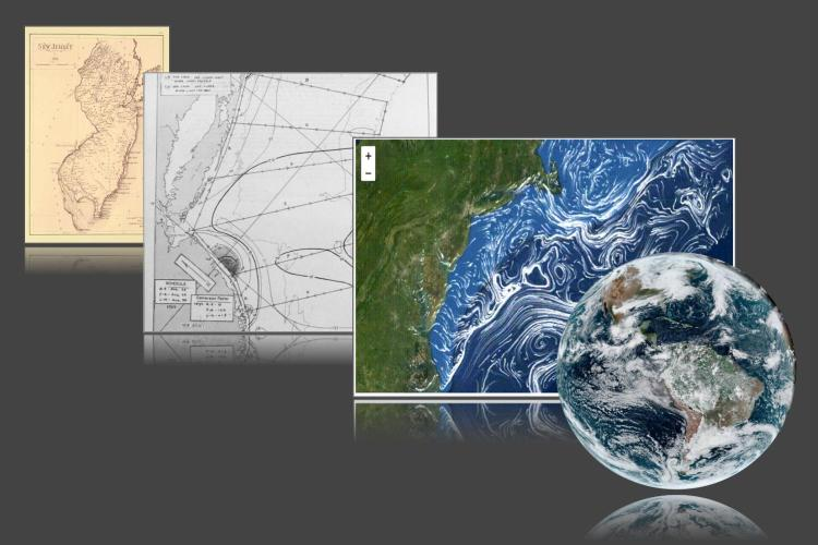 image shows four panels arranged left to right and from background to foreground. The leftmost panel shows a hand drawn map of New Jersey from the 19th century. The next panel shows a map of isotherms on the East Coast. The next panel shows a computer generated map of ocean currents in the Mid-Atlantic Bight and the rightmost panel shows a globe of the Earth with satellite imagery.