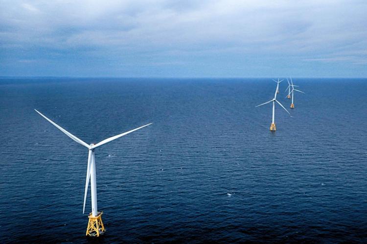 Wind generators off Block Island.
