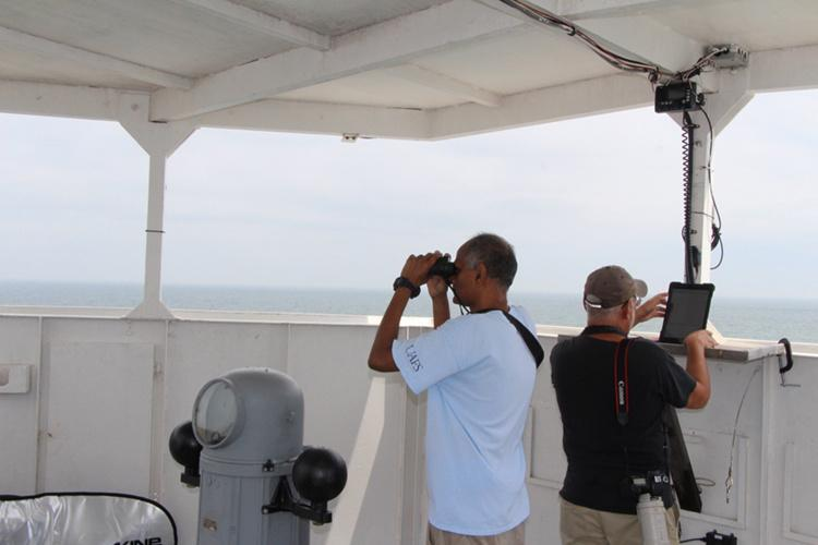 Staff member with binoculars and and other staff with tablet checking mammals and sea birds.for