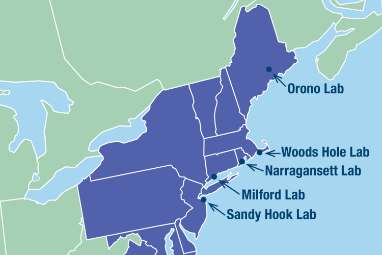 Location  map of the Center labs, from New Jersey to Maine