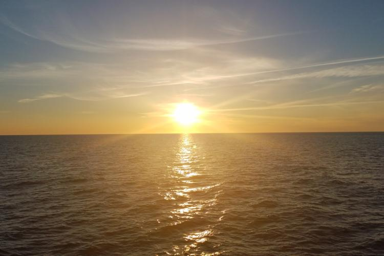 Sunrise from the survey boat..