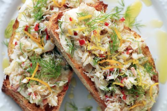 Photo of Jonah crab on toast