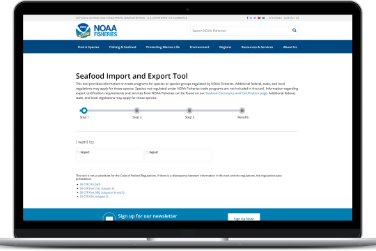 Seafood Import and Export Tool shown on a laptop.