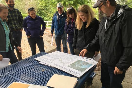 Carrie Selberg Robinson visiting the Southern Flow Corridor habitat restoration project in Tillamook Bay, Oregon