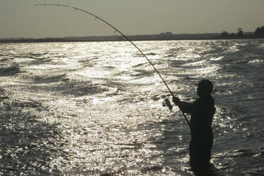 An angler fights a fish in the moonlight