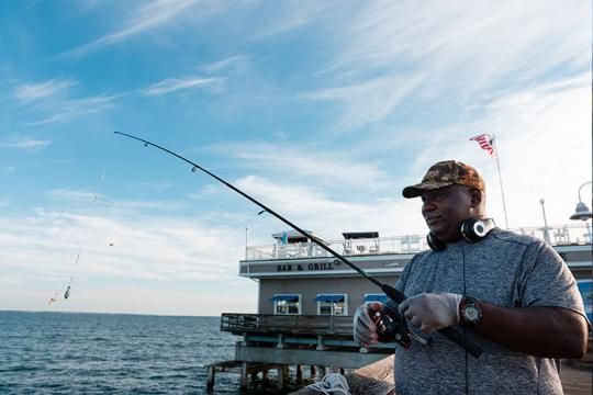 Recreational Fishing Norfolk Virginia Chesapeake Bay, fishing off the dock.