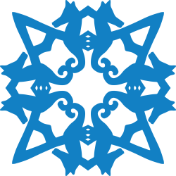 Graphic of seahorse snowflake template