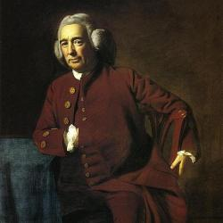 Portrait from 1700s of Dr. Silvester Gardiner in maroon suite and wig of the times
