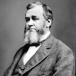 Mature, bearded man in a woolen suit. Spencer Baird, first U.S. Fish Commissioner