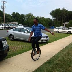 Unicycling is one of Audy People's hobbies.