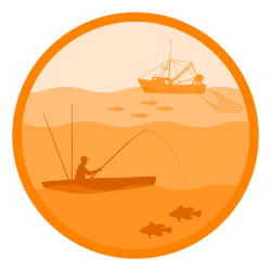Fishing: Decorative image representing both commercial and recreational fishing