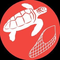 Icon of turtle and fishing net on orange background