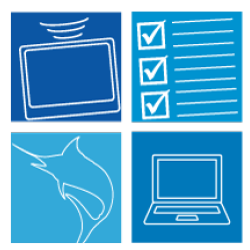 Clip art of sensor, checklist, fish and computer