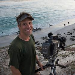 Photo of Paul Hillman on a beach sand dune with northern fur seals and California sea lions in beach rookeries, and entering the surf, in the background.