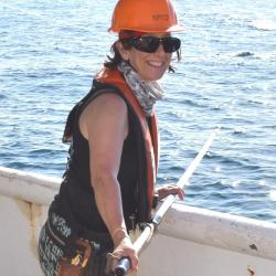 Research biologist prepares to tag a shark from deck of ship.