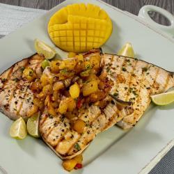 Grilled swordfish with mango chutney.
