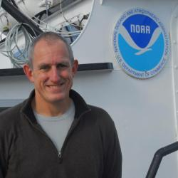 Jon Hare on board a NOAA vessell.