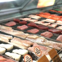Seafood display case at Wegmans
