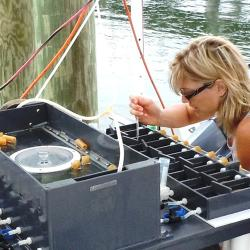 Image of woman working with water samples.