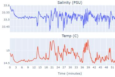 Two graphs on top of each other with the x-axis as time in minutes from 0-60. Top graph with salinity (PSU) data over time, scale 33.45 to 33.6. Bottom graph with temperature (C), scale 14.5 to 15.5