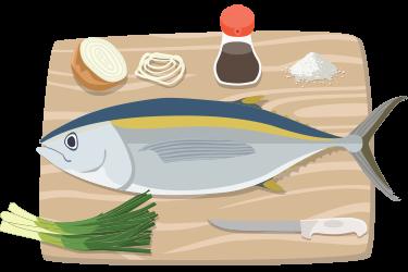 Colored illustration of a bigeye tuna fish, cutting board, cutting knife, green onions, yellow onion, soy sauce, and salt.